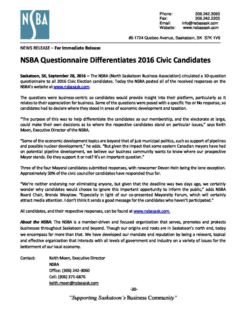 NSBA Questionnaire Differentiates 2016 Civic Candidates